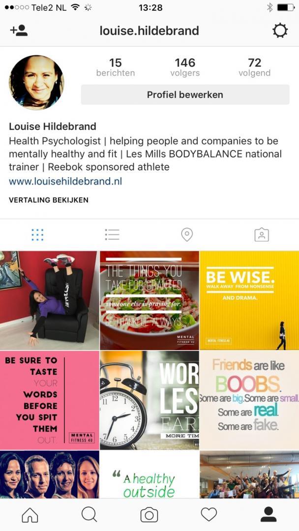 Louise Hildebrand Instagram Mentaal Fit